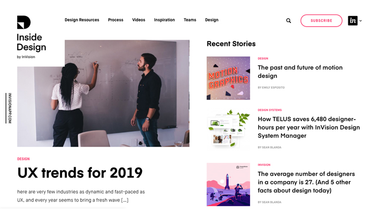 invision blog page