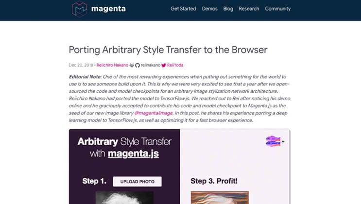 magenta blog page