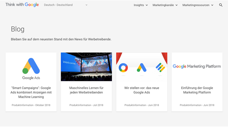 think with google blog page